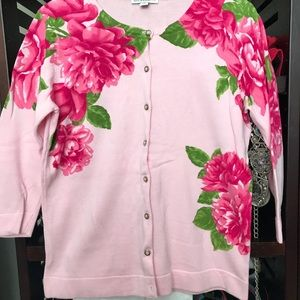 Isaac Mizrahi Pink Flowered Cardigan Like New